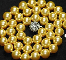 "10mm AAA Gold South Sea shell Pearl Necklace 18"" 312"