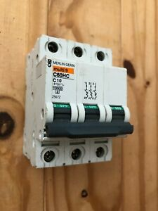 Merlin Gerin MCB 10 Amp Triple Pole 3 Phase Type C 10A C60HC310 25672 schneider