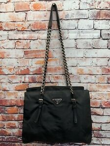 PRADA Nylon Chain Shoulder Bag Black Auth
