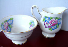 Royal Albert Hand Painted Primula Creamer and Sugar Bowl c.1940s Bone China