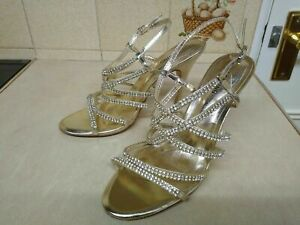 CALL IT SPRING METALLIC GOLD BEADED SPARKLY SANDALS SIZE 6 WEDDING