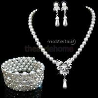 MagiDeal Wedding Bridal Jewelry Set Crystal Pearl Necklace Earrings Bracelet