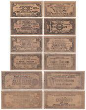 6 pcs. 1942 US Philippines WW2 BOHOL Emergency Notes 10, 25, 50c, 1, 5, 10 pesos