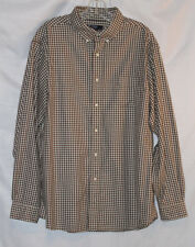Cremieux Collection Men's XL Brown and White Plaid Long Sleeve Button Down Shirt