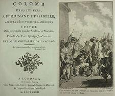 DE LANGEAC - Christophe) COLOMB DANS LES FERS -EO 1782- DÉCOUVERTE DE L'AMÉRIQUE
