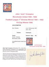 JACK CROMPTON MANCHESTER UNITED 1946-1956 RARE ORIGINAL HAND SIGNED CUTTING/CARD