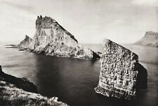 1934 Norway Iceland 11x14 TINDHOLMUR DRACHENFELSEN Rock Island Sea Landscape Art