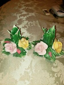 Capodimonte Flower Porcelain Candle Holders Pink yellow  Lot of 2 made in italy