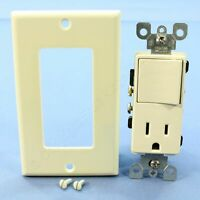 Leviton Almond Decora Combination Rocker Light Switch & Receptacle 15A 5678-A