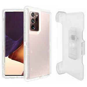 For Samsung Galaxy Note 20 Ultra Clear Defender Case (Belt Clip Fits OtterBox)