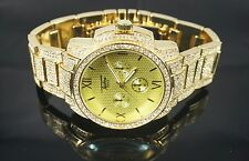 """""""NEW"""" TECHNO PAVE MEN'S 14K GOLD PLATED LUXURY DESIGN ICED OUT BLING WATCH"""