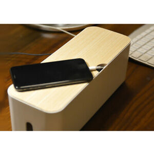 Wooden Cable Management Box Cord Organizer Wire Storage Holder for Home Office