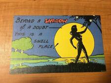 Vintage Curt Teich 1940s Sexy Skinny Dip Florida Linen Postcard