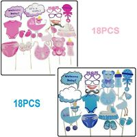 18pcs Paper Card Party Photo Booth Girl Baby Shower Props Selfie Photography