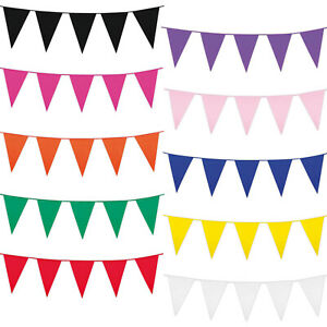 Long Bunting Colours 60 Flags Mix Solid Colour Pink Red Blue Rainbow 100 Ft 30m