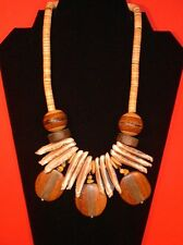"Handmade 19"" COLLAR/BIB/STATEMENT Necklace, WOOD + SHELLS (Vintage)..."