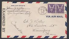 USA 1942 WWII CENSORED AIRMAIL COVER LOS ANGELES CALIFORNIA TO WINNIPEG CANADA