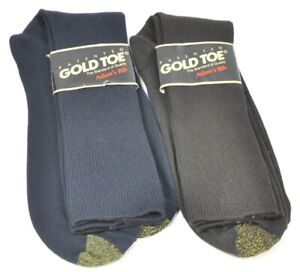 VINTAGE GOLD TOE MENS SOCKS ADAM'S RIB NAVY & BROWN STRETCH NYLON 6.5-13