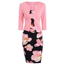 Floral Mid Length Business Bodycon Pencil Dress - Pink  - size 12 - 14