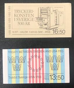 Swedish postal stamps: 2x booklets Treaty 1983 & Printing Anniversary 1983 - MNH