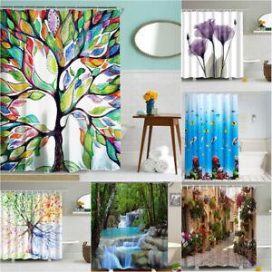 3D Print Natural Scenery Bath Shower Curtain Hooks Set Waterproof Home Decor