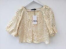 Zara XL Ecru Broderie Anglaise Puff Sleeve Top Blouse NEW
