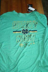 Notre Dame Men`s Green Long Sleeve Ice Hockey Shirt Under Armour 3XL