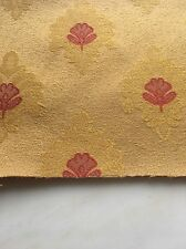 Upholstery Fabric Formal Red Gold Get Floral Oriental Style Sheen BTY