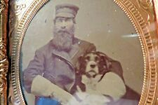 Bearded, Gloved Engineer with Border Collie 6th pl.Cased Tintype Near Mint nr