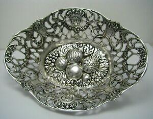HAZORFIM SILVER BOWL BASKET CANDY DISH 800 Silver by Hazorfim Israel c1960s Rare