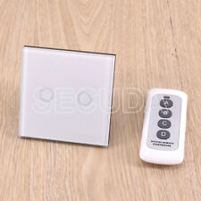 White 1 Way 2 Gang Tempered Glass Touch Light Wall Switch Panel&Remote Control