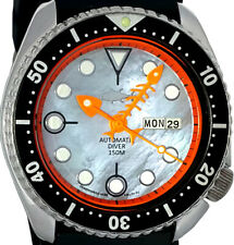 Vintage SEIKO 6309 Diver Mod w/Neon Orange Fishbone * Grey Mother of Pearl Dial