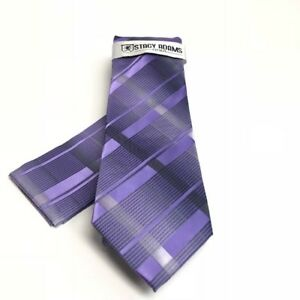 Stacy Adams Men's Tie Hanky Set Lavender Purple Silver Charcoal Microfiber