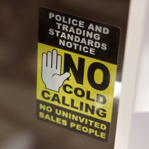 No Cold Calling Sales Sticker - Sticks on INSIDE of WINDOW 12cm x 7.5cm