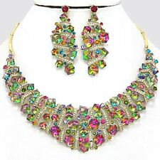 Pastel AB Glass Crystal Cubed Necklace Earring Set Statement Fashion Jewelry