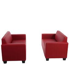 Sofa-garnitur Couch-garnitur 2x 2er Sofa Moncalieri Kunstleder rot
