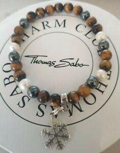 Thomas Sabo Perlen Armband mit Schneeflocke Charm Anhänger Neu
