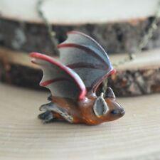 Hand Painted Porcelain Vampire Cave Bat Necklace Antique Bronze Chain Ceramic
