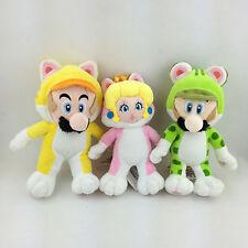"3X Super Mario Bros World Cat Form Mario Luigi Princess Peach Soft Plush Toy 7"""