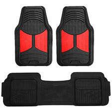 Red Black 3pcs Floor Mats Set All Weather Heavy Duty Car Mats Universal Fit