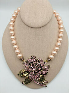 "HEIDI DAUS® ""Rose Elegance"" Crystal Rose Beaded Drop Necklace - Light Rose - NWT"