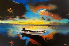 Sea Sunset With Boat Limited Edition A3 Print Of Original Oil Painting