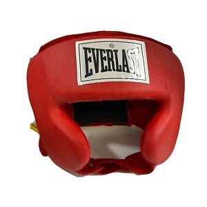 Everlast Boxing Advanced Everhide Training Head Gear, Red