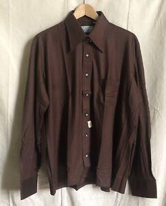 NOS Vtg 70s Manhattan Ban-Lon Brown Knit L/S Disco Collar Shirt Deadstock Lg