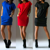 Women Summer Short Sleeve T-Shirt Top Casual Pockets Short Mini Dress S-2XL US