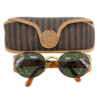 FENDI FF Logos Sunglasses Gold Brown Eye Wear Vintage Italy Authentic #Z795 W