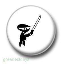 Ninja 1 Inch / 25mm Pin Button Badge Cartoon Karate Kickboxing Sword Martial Art