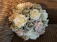 Wedding Flowers Brides Pink  Grey / Ivory Posy Bouquet Pearls & Diamantes