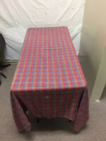 """VTG Plaid Tablecloth Multicolor Red Blue Yellow 61""""x78"""""""