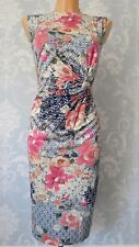 MONSOON JAZMINE DRESS SIZE 18 BLUE PINK FLORAL ORIENTAL STRETCH OCCASION EVENING